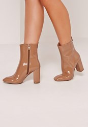 Missguided Patent Heeled Ankle Boots Tan Brown