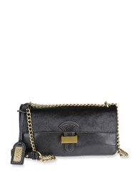 Badgley Mischka Tania Chain Leather And Calf Hair Crossbody Bag Black