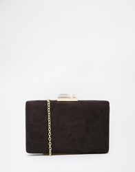 Liquorish Box Clutch Bag With Jewel Clasp Black