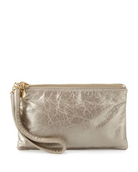 Hobo Tilda Metallic Leather Wristlet Bag Champagne