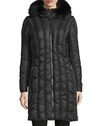 Zac Posen Carla Fur Trim Puffer Coat Anthracite