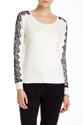 Carmen Marc Valvo Long Sleeve Scoop Neck Cardigan White