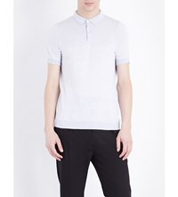 John Smedley Kiefer Knitted Polo Shirt Feather Grey