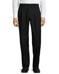 Neiman Marcus Easy Fit Pleated Pants Black