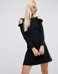 Asos Skater Dress With Frill Detail And Cut Out Shoulder Black