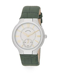 Philip Stein Teslar Round Chronograph Stainless Steel And Leather Watch Green