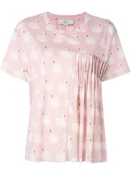 Stella Mccartney Ruched Swan Print Blouse Pink Purple