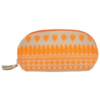 John Lewis Embroidered Flower Large Pouch Orange