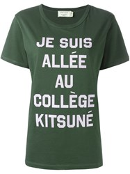 Maison Kitsune Message Print T Shirt Green