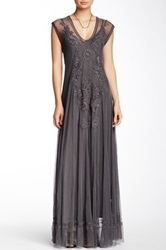 Biya Lace And Silk Maxi Dress Brown