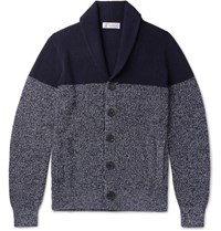 Brunello Cucinelli Two Tone Melange Cotton Cardigan Navy