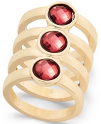 Inc International Concepts Gold Tone Red Crystal Stacked Ring Only At Macy's