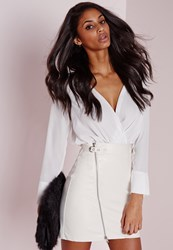 Missguided Faux Leather Buckle Zip A Line Skirt White White