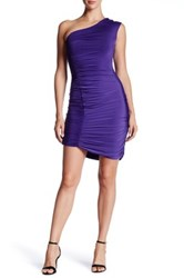 Soprano One Shoulder Ruched Coco Dress Juniors Purple