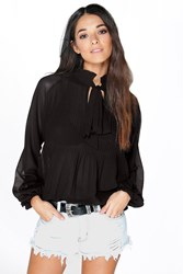 Boohoo Pleated Chiffon Ruffle Neck Blouse Black
