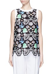 Emilio Pucci Seashell Print Cutout Hem Sleeveless Top Multi Colour
