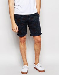 Bellfield Chino Shorts With All Over Floral Print Navy Blue