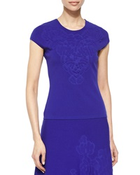 Escada Cap Sleeve Embossed Top Ink