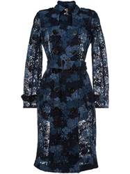 Burberry Lace Semi Sheer Trench Coat Blue