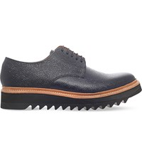 Grenson Curt Tumbled Leather Wedge Derby Shoes Black