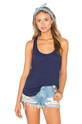 Heather Cotton And Gauze Panel Tank Blue