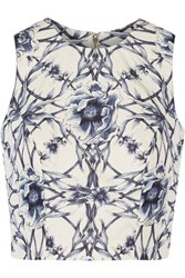 Marchesa Printed Cotton And Silk Blend Top Blue