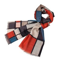 Infinity Scarf Mondrian Et La Ville Lumiere Red And Blue