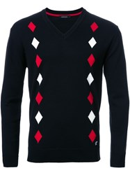 Loveless Diamond Print V Neck Jumper Black