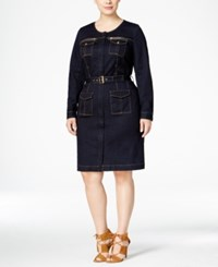 Inc International Concepts Plus Size Belted Denim Utility Shirtdress Only At Macy's Indigo