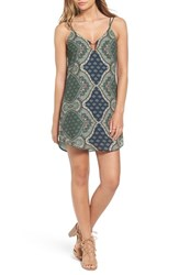 Socialite Women's Bar Detail Print Camisole Shift Dress Green Paisley