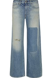 Simon Miller Distressed Mid Rise Wide Leg Jeans Blue
