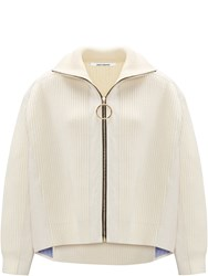 Paco Rabanne Zipped Knit Jacket Neutral