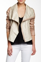 Jakett Katherine Contrast Linen Trim Leather Jacket Brown