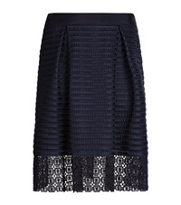 Ted Baker Lotee Lace And Mesh Panelled Skirt Female Navy