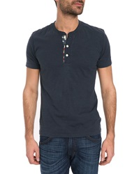 Denim And Supply Ralph Lauren Vintage Navy Henley T Shirt With Flag Button Placket