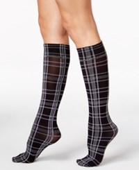Hue Women's Plaid Knee High Socks Black