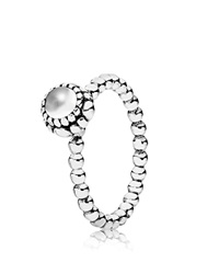 Pandora Design Pandora Ring Sterling Silver And Quartz Birthday Blooms April Silver White
