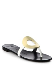 Giuseppe Zanotti Gold Ring Patent Leather Flip Flops White