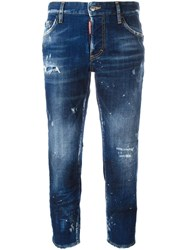 Dsquared2 Boyfriend Cropped Jeans Blue