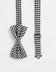 Noose And Monkey Check Bow Tie Black