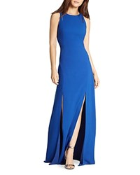 Halston Heritage Double Slit Gown Royal Blue