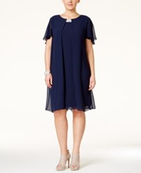 Msk Plus Size Short Chiffon Flutter Dress Navy