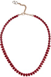 Valentino Crystal And Enamel Necklace Claret