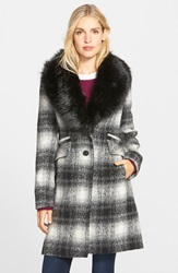 Laundry By Shelli Segal Faux Fur Collar Plaid Coat Black White