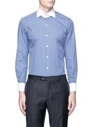 Tomorrowland Contrast Collar Check Cotton Poplin Shirt Blue