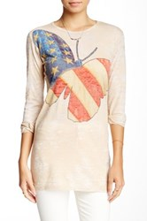Go Couture Crew Neck Long Sleeve Burnout Tee Multi