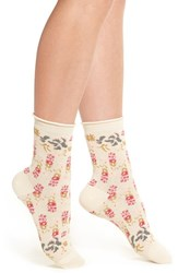 Urban Outfitters Women's Free People Floral Ankle Socks Ivory Combo