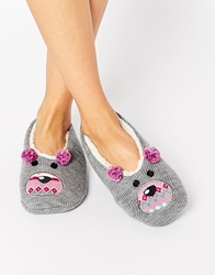 Totes Novelty Footsie Slippers Grey