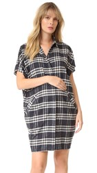 Hatch The Buttondown Dress Black White Plaid