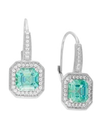 Arabella Mint 6 5 8 Ct. T.W. And White 1 2 Ct. T.W. Swarovski Zirconia Drop Earrings In Sterling Silver Clear